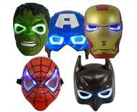 Wholesale 30pcs LED Flash Mask Children Halloween Masks Glowing Lighting Mask Avengers Hulk Captain America Batman Ironman Spiderman Party D213
