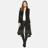 asymmetrical trench coat - Black Spring Style Trench Coats For Women Fashion Outwear Asymmetrical Hi Lo OL Dress Coat Factory Outerwear Coats Women