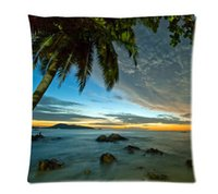 Wholesale 45 cm inch Own Cushion Cover Funny Tropical Palm Tree Cotton Sofa Car Bedding Decorate Throw Pillow Case two sides printed