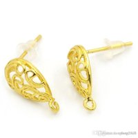Wholesale 2015 NEW Copper Earring Post Hollow Water Drop Gold Plated mmx13mm