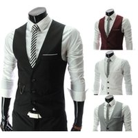 Wholesale 2015 New Men Suit Vest Fitted Waistcoat Casual Business Suit Three Buttons Casual Suit For Men
