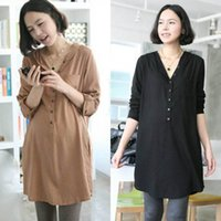 Wholesale Pregnant Women Summer Half Sleeve Loose Dress Shirt Maternity Cotton Hoodie Tops Dropshipping