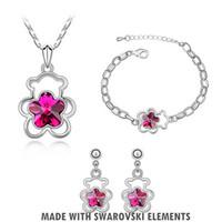 bear element - Jewelry Sets Fashion Swarovski Element Crystal K White Gold Plating Earrings Necklace Bracelet Stunning Design Bear And Flower