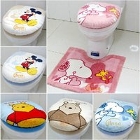 Cheap 2015 Real New Arrival Multi Acrylic Wc Tapetes Free Shipping Cartoon Bathroom Toilet Three Piece Set Seat Cover Potty Pad Mat