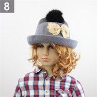 Wholesale Children Autumn Winter Stingy Brim Hats With Bowknot Artificial Rabbit Fur Girls Warm Hats Designs