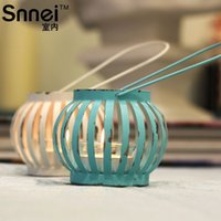 Wholesale Snnei indoor cute retro romantic Mediterranean dcor pumpkin candle holder iron candlestick Songcha wax