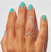 Wholesale Women Personality Finger Rings Jewelry Brand New Fashion Brief High Quality Gold Silver Plated Double quot V quot Style Chained Cluster Rings SR410
