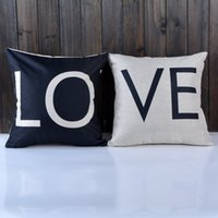 black pillow cases - DHL Home decorations Nordic IKEA black and white LOVE Valentines compound hold cotton pillow case sofa pillow cushion style choose Order