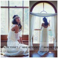 Cheap 2015 Boho Wedding Dresses Off The Shoulder A Line Summer Beach Wedding Dresses Chiffon Floor Length Wedding Gowns Bridal Dress