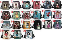 Backpacks backpack lunch tote - Fashion Love Girl Pattern Childrens School Book Bags Mochilas Kids Black Shoulder Travel Tote Message Bag Cheap Cotton Canvas Lunch Handbag
