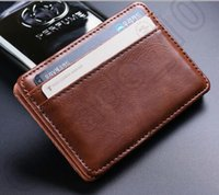Wholesale 20PCS HHA533 Hot Sell Vintage Style leather magic wallet men s mini multifunctional card holder brand magic wallets