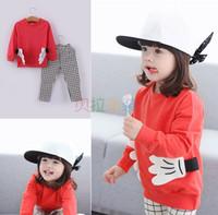 applique patches children - Kids Casual Suit Autumn Patch Long Sleeve Children Clothing Sets T shirt Gird Pants Set Korean Kids Suits Set T858