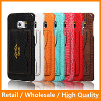alligator card case - For Samsung Galass S6 Edge Crocodile Grain Leather Stand Back Cover Alligator with Card Slot Phone Bag Coque Funda Capa