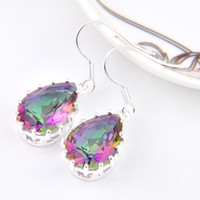 Wholesale 6 Pairs Luckyshine Bright Drop Rainbow Fire Mystic Topaz Gems Sterling Silver Plated Drop Earrings Russia Canada Drop Earrings Jewelry