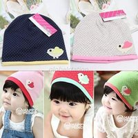 Wholesale Spring Fall Girls Kids Baby Soft Cotton Birds Dots Candy Color Beanie Hats Caps