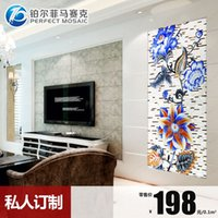 Wholesale Platinum Mi Fei cut crystal glass mosaic backdrop painting puzzle mosaic mirror tiles living room wall stickers JH99