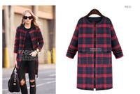 american trade beads - 2015 winter new European and American trade sources large size women quilted thick plaid jacket and long sections Women