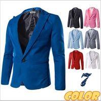achat en gros de fasion simples-Suit Veste New Fasion Blazer Hommes Simple Spéciale Bouton Multicolor Classique Hommes Casual Cotton Mens Blazer M-XXXL expédition dorp