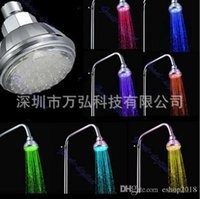 Wholesale 7 Colors Changing LED Flash shower Light Water Glow Powered Rainfall Top Shower Heads