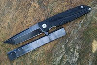 Wholesale ATLANTA Brian Nadeau Typhoon Flipper Folding Knife Black Aluminum Handles Cr18Mov Blackwash Blade Geometric Head