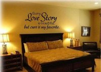 beautiful stories - 2 styles large size romantic bedroom sticker every love story is beautiful vinyl wall decal quote stickers