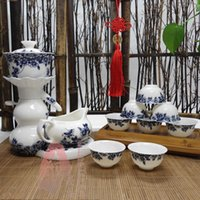 tea sets wholesale - Semi automatic kung fu ceramic tea set of blue and white porcelain hot insulation Ceramic tea tray hot tea