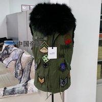 Wholesale Gianna Jun same style fur coat Korean star vest mr mrs style women jackets with black real raccoon fur hood