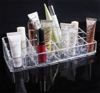 acrylic cosmetic tray - Stylish professional Clear Acrylic grid Lipstick Tray Cosmetic Organizer Stand Display Holder for lady