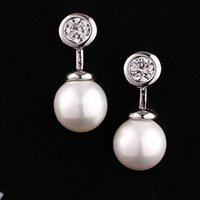 Wholesale Fashion Pearl Earrings for Women Korean Fashion Women Earrings of K Gold Plated Zircon Pearl Stud Earrings Colors