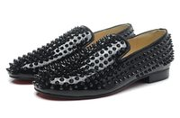 Wholesale New arrivel brand fashion mens black spikes with black patent leather red botom oxfords designer loafers business wedding dress shoes