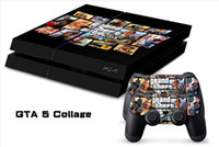 Cheap 1Set GTA 5 Collage PVC Stickers for Playstation 4 PS4 Console 2 Pcs Vinyl decal Skin Stickers For PS4 Controller Joystick Game free shipping