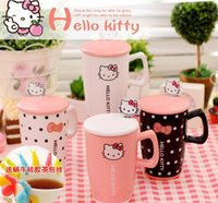 Wholesale Hello Kitty cute cartoon creative ceramic cup with cover with spoon KT cup of coffee lovers Cup Mug