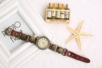 designer watches men - Best Cowhide Designer Watches Bronze Skull Decoration Vintage Watches For Men or Women Cheap Leather Band Watches e074