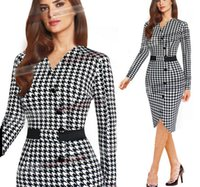 houndstooth dress - 2015 Sexy Women Lady Houndstooth V neck Tunic Formal Party Pencil Dress Gift Fo0045
