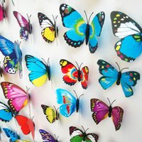Wholesale 3D Wall Sticker PVC Butterfly Magnetic Sticker For Home Decoration Room DIY Ornament Multicolor Mix Order ZYQ1