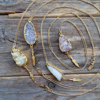 24k gold necklace chain - New natural druzy necklace with tree charms in stock k gold plated stone druzy agate necklace