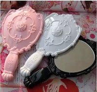 cosmetic black up - Lady Vintage Rose Cosmetic Mirror Plastic Makeup Mirror Cute Girl Hand Make Up Black White Pink