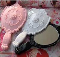 achat en gros de miroir filles de la main-Lady Vintage Rose miroir cosmétique plastique miroir de maquillage Fille main Mignon Make Up Noir Blanc Rose