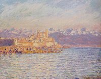 bay paintings - Landscape oil paintings on linen The Bay of Antibes Claude Monet s reproduction hand painted