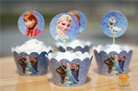 Cupcake Boxes cupcake boxes cake boxes - Frozen Cupcake Wrappers Decorations Elsa Anna Princess Kristoff Olaf Cup Cake Toppers Picks Kids Birthday Supplies Party Favors