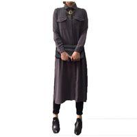 Cheap Autumn Blusas 2015 Women Single Breasted Lapel Long Chiffon Shirts Tops Ladies Casual Loose Full Sleeve Blouse Dress Vestidos