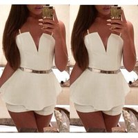 Wholesale Hot Stylish New Sexy Women Lady V Neck Braces Slim Bodycon Jumpsuit Romper Trousers Clubwear Bandage White S M L