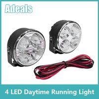 Cheap Free shipping 2x 4 LED Universal Super Bright White Round 12V Flood Beam Work Fog Lamp Daytime Running Driving Light DRL