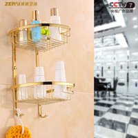 antique wire baskets - Full zirconium gold plated copper wire basket Antique Continental Shelf double hook basket corner basket tripod bathroom