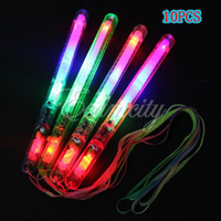 Wholesale 10pcs modes Multi Colorful Flashing LED Night Light Lamp Glow Wand Sticks strap Camp Party Festival
