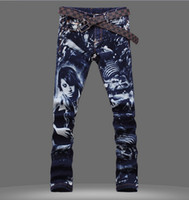Wholesale New Hot Men s fashion D printed jeans male slim colored drawing flower long trousers beauty print painted denim pants