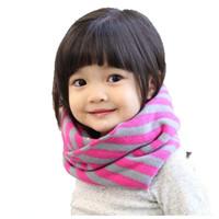 Wholesale Children Unisex Ring Scarves Boys Girls Autumn Winter Warm Knitted Stripe scarf WJ8281