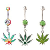 animal plant pots - 2015 Pot Maple Sexy Rhinestone Green Leaf Stainless Steel Piercing Belly Button Rings Plant Design Body Piercing Navel Jewelry