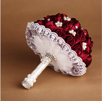 hand made - 2015 Stock Burgundy Bride Wedding Bouquet with Hand Made Flowers Satin Rose Pearls Lace Wedding Favors Bride Holding Flowers