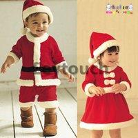Cheap 2014 Christmas Santa Cute Baby Boys Girls Romper Red Rompers Fleece Romper Dress Xmas Long Sleeves Climbing Clothes Free Ship